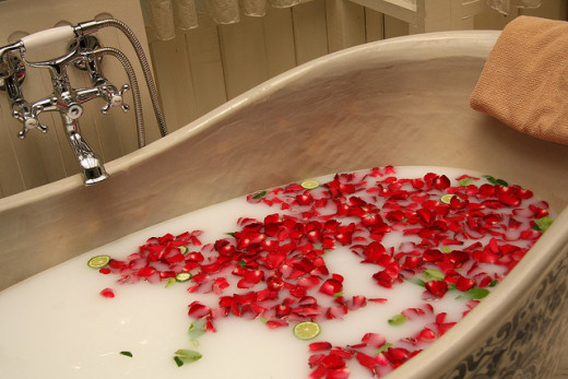 A seriously relaxing milk and rose petals bath.
