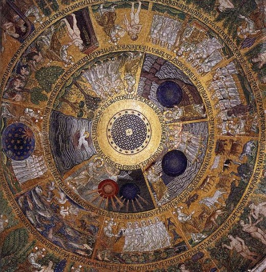The Cupola of Genesis (circa 1210) is a mosaic in the Basilica of San Marco in Venice, Italy. The work is in the public domain in the United States, and those countries with a copyright term of life of the author plus 100 years or less.