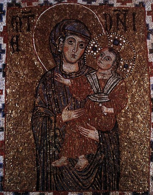 Madonna and Child, a mosaic outside the walls of the Basilica of St. Paul in Rome, Italy—in the Chapel of the Crucifix—was created in the 13th century.