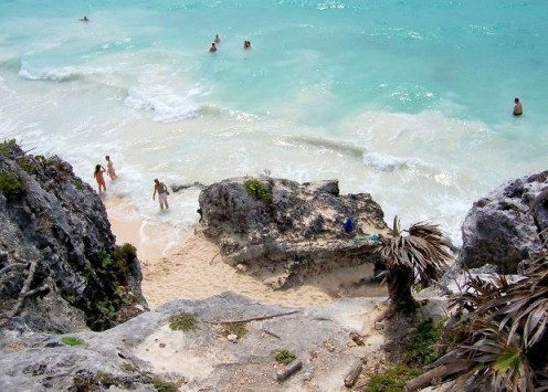 The beach is easily accessed at Tulum down the left side of the main temple.