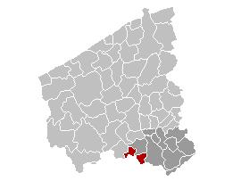 Map location of Menen, West Flanders