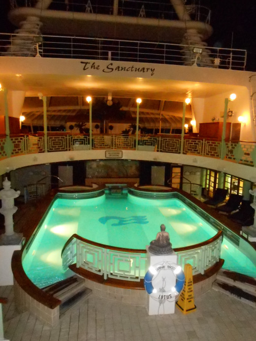 My favorite place to work out on the ship, the heated Lotus Pool for adults only with hot tubs for after swimming!