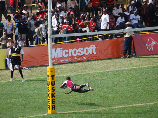 Diving try at the Safaricom Sevens