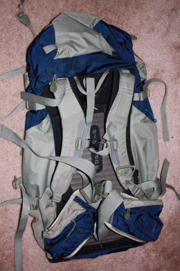 The back of the Osprey Kestrel 38 backpack.