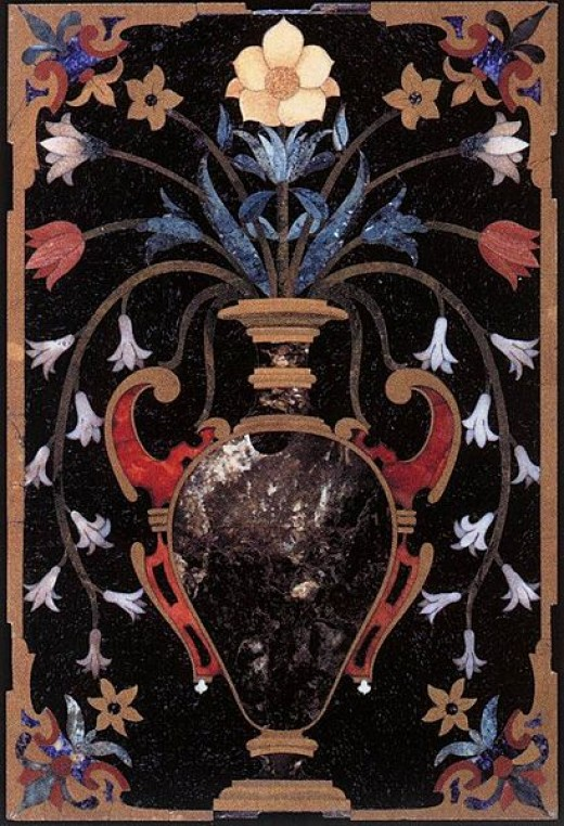 This hard stone inlay mosaic of a Vase of Flowers by an unknown artist is currently in the Museo dell'Opificio delle Pietre Dure, in Florence, Italy.