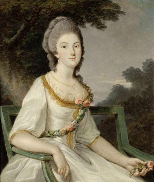 An unknown artist painted this portrait of Fortunée d'Este circa 1765.