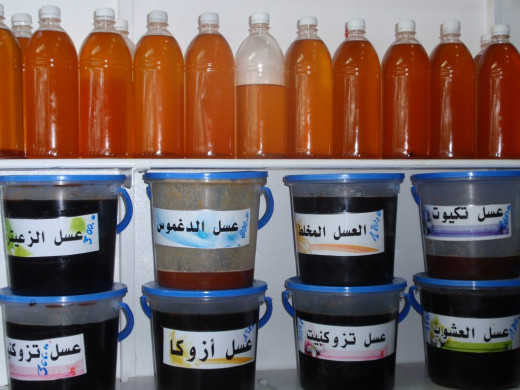 Raw Argan oil with varying quality. (Darker are more natural, lighter are filtered)