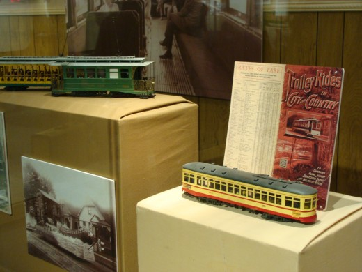 The trolley car display showed another means of transportation throughout the city in earlier years.