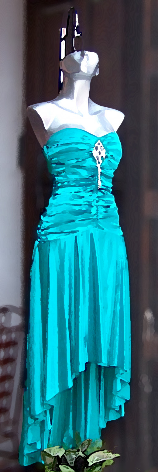 A blue dress but not Monica's, of course
