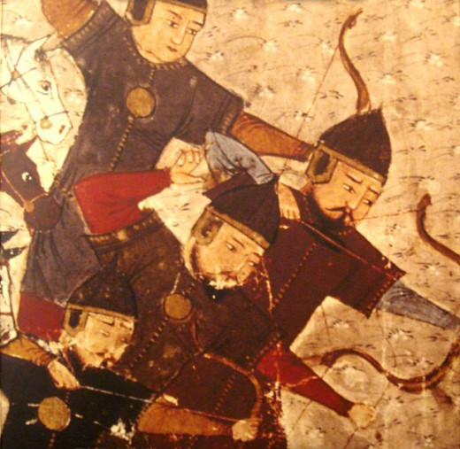 A depiction of Mongol archers on horseback dating from the 13th century.