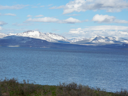 Yellowstone Lake with Mountains in the Background