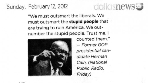 Herman Cain's Stupid People remarks