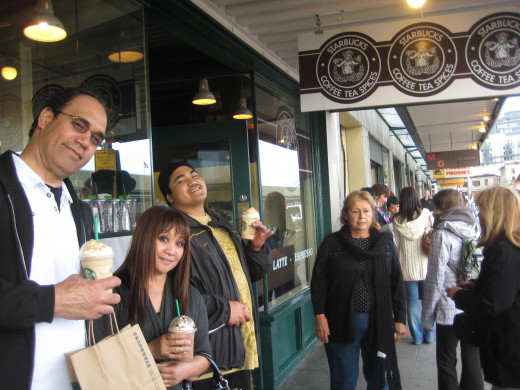 Standing room only at Starbuck's first location in Seattle WA