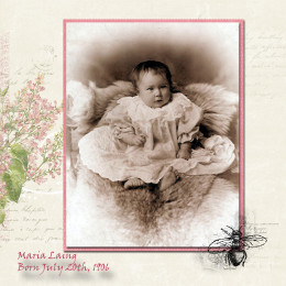 When you have a really beautiful baby picture like this one, don't ruin it by adding too many embellishments.  This is my grandmother. The digital scrapbooking elements came from designer Katie Pertiet at http://www.designerdigitals.com/