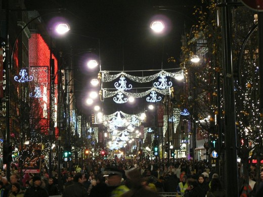 Christmas decorations in Oxford Street, London
