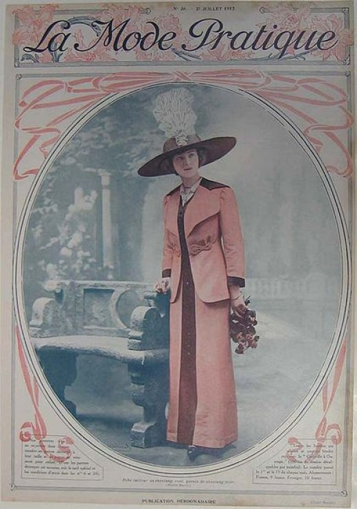 Two-color halftone cover from the July 27, 1912 issue of La Mode Pratique, a French fashion magazine. Shows scene of a young woman wearing a fashionable dress and hat.