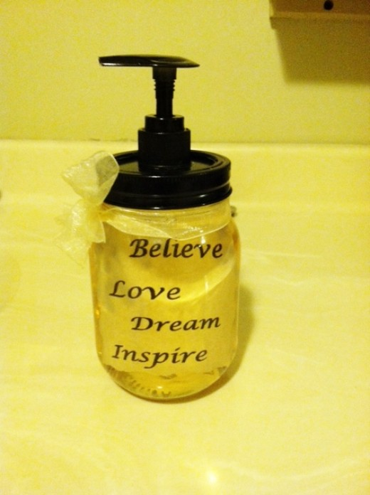 "My first successful finished product for the ""floating words"" soap pump."
