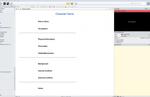 A screen shot showing one of the character sheets available in the Scrivener Novel writing Software.