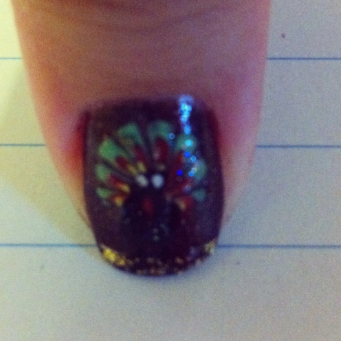 Thanksgiving Turkey nail art done by Lieu