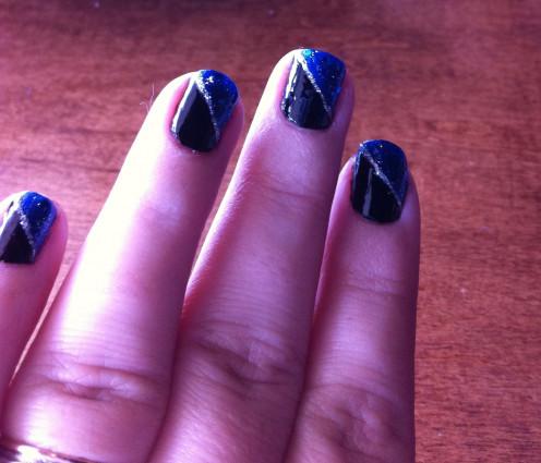 """""""Black and Sparkly Blue"""" nail art done by Lieu"""