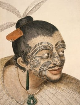 A Maori Chief with his distinctive tribal tattoos.