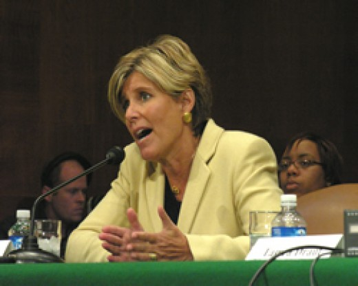 Suze Orman addressing a Senate Committee, 2008.