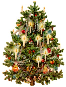 Christmas tree with candles.