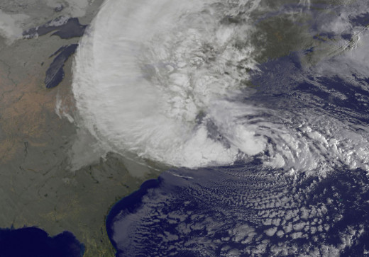 NOAA's GOES-13 satellite captured this visible image of Hurricane Sandy battering the U.S. East coast on Monday, Oct. 29 at 9:10 a.m. EDT. Sandy's center was about 310 miles south-southeast of New York City. Tropical Storm force winds are about 1,000