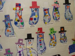 The variety of decorations on the snowmen made for a beautiful wall display.