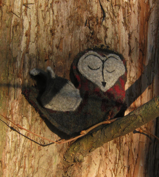 Felted sweater wool owl