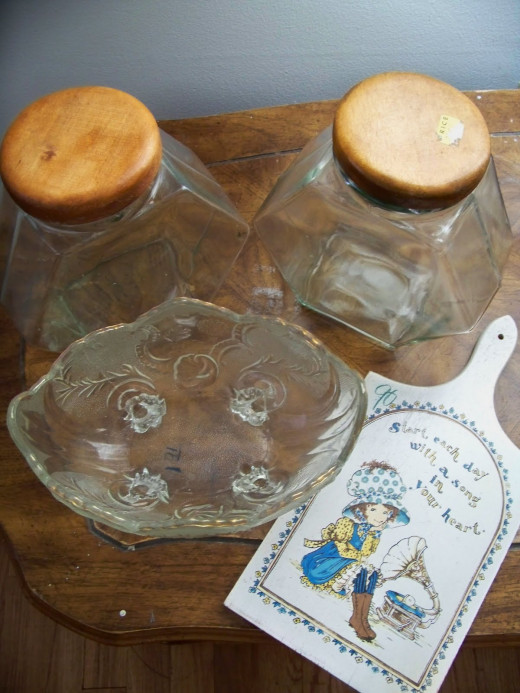 These thrift store glass and ceramic items can be easily cleaned.
