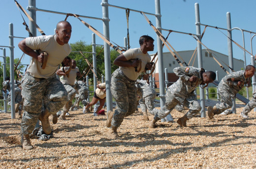 "Soldiers doing a TRX ""sprinter's start."""