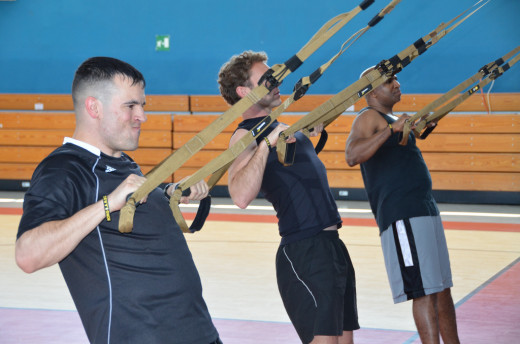 Performing the trx body row