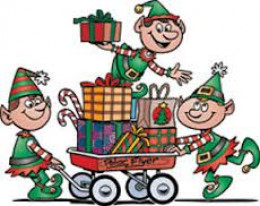 Three of Santa's hundreds of elves