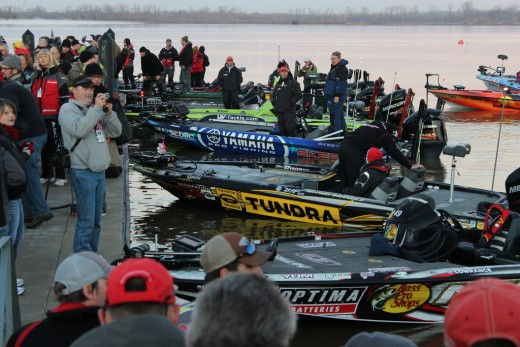 Pros at the dock for the 2012 Bassmaster Classic Tournament