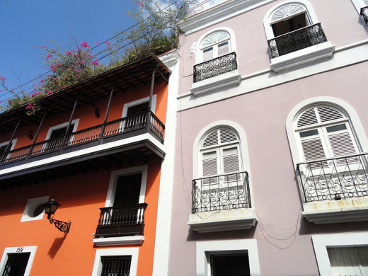 Daderot photographed these buildings in Old San Juan on October 22, 2011.