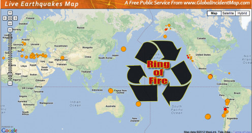 Notice the earthquakes in the Ring of Fire.
