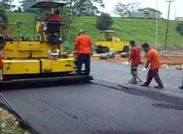 Making roads with asphalt