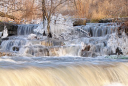 Hunter Falls with ice forming at sunset