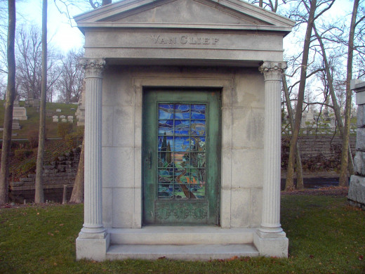 Van Clief Mausoleum:  Mr. and Mrs. Van Clief were Buffalo nobility associated with fascism.  It is noted that the wife, Helen, received a token from Benito Mussolini for her support of his reign.  The couple believed Mussolini could end communism.