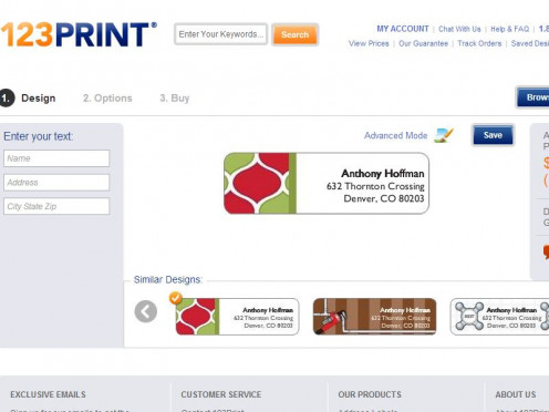 Print screen of address labels available online at 123print.
