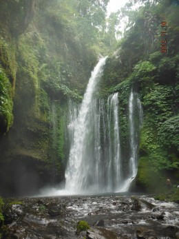 Tiu Kelep Waterfall. Some believe bathing with  the water  gives benefits in keeping ones youthfulness.