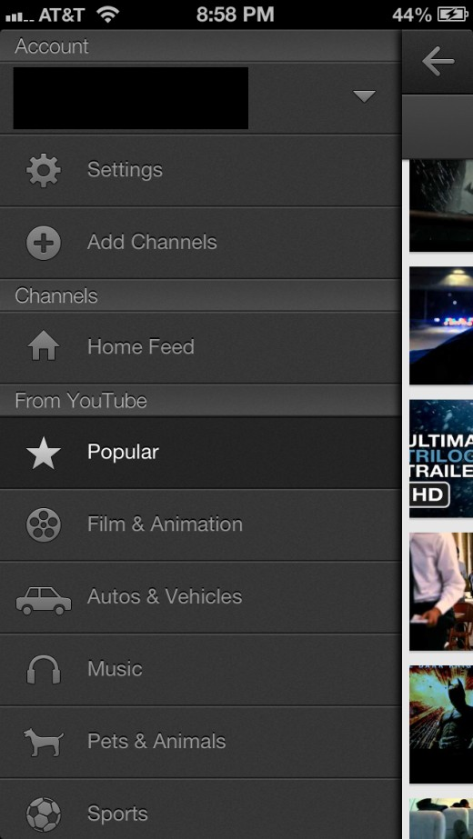 Tap the YouTube icon at the top of the app to open the menu on the left side of the screen.