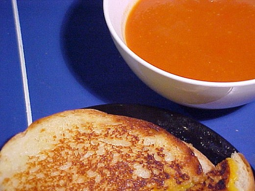 Great comfort food: Tomato soup and grilled cheese sandwich