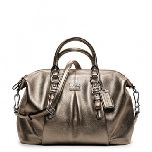 Madison Metallic Leather Juliette COACH Handbag $378