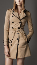 LONG COTTON GABARDINE LEATHER TRIM TRENCH COAT