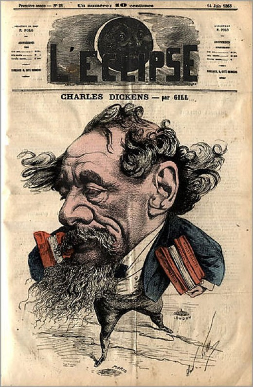 A hand engraving of Dickens by Andre Gill.