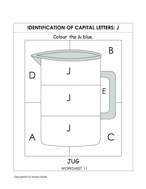 Alphabet worksheet for kindergarten - letter J