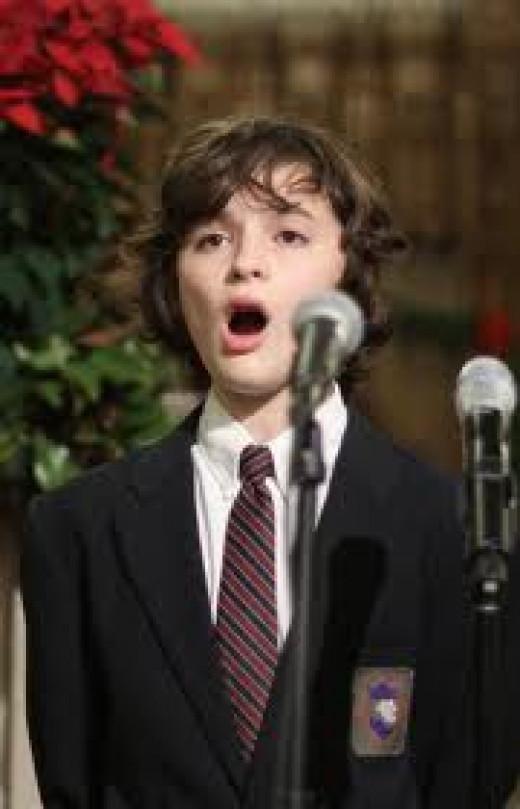 Proudly singing the National Anthem