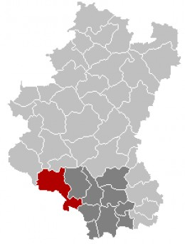Map location of Florenville, Belgian Luxembourg